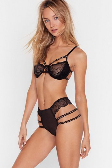 Black Let's Grow Strappy Lace Bralette and Knickers Set