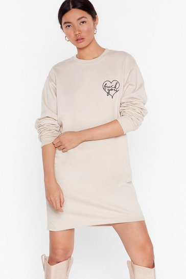 Womens Sand Fuck You From the Heart Sweatshirt Dress