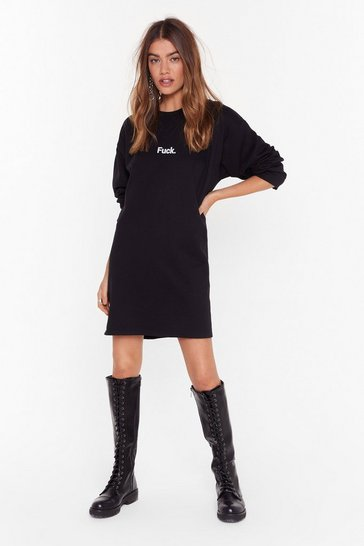Womens Black Oh Fuck Graphic Sweatshirt Dress