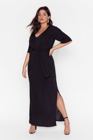 Black Slit's a Close Call Plus Maxi Dress