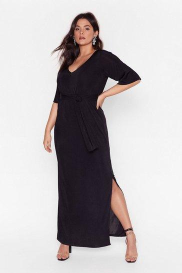 Black Slit's a Close Call Plus Maxi Dress