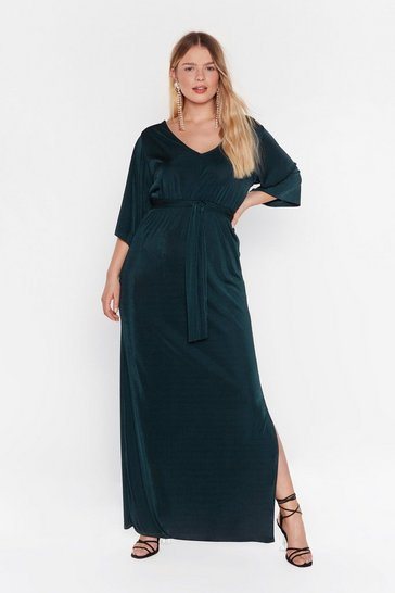 Dark green Slit's a Close Call Plus Maxi Dress