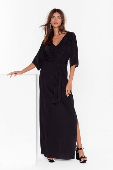 Womens Black On the Wings of Love V-Neck Maxi Dress