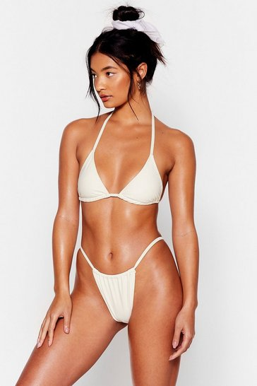 Cream High Leg String Bikini Bottoms