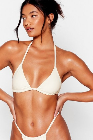 Cream Halter Triangle Tie Bikini Top