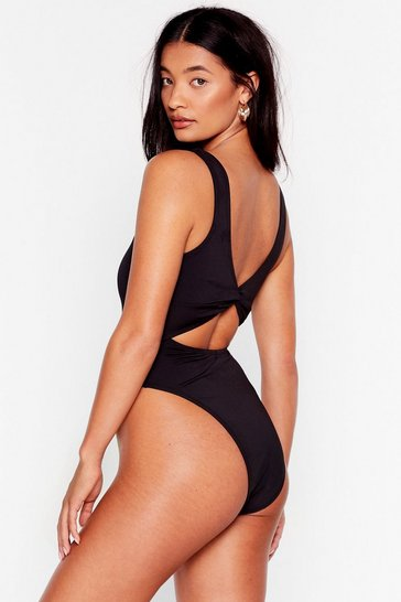 Black Recycled Knot Front High Leg Swimsuit