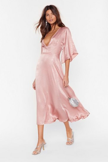 Pink Sleeve Us to It Spotty Midi Dress