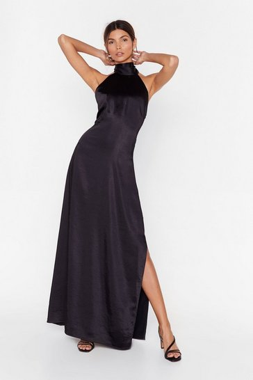 Black You Hold Me Up Satin Halter Dress