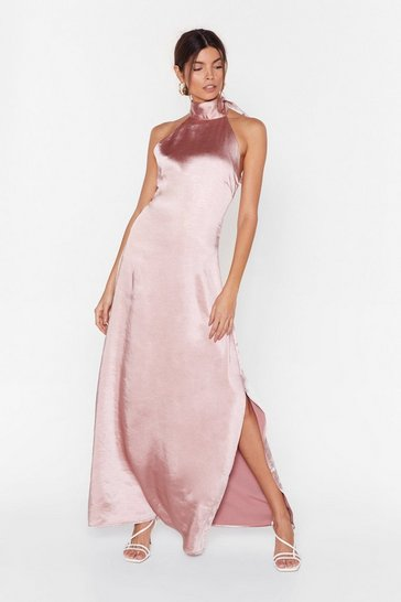 Blush You Hold Me Up Satin Halter Dress