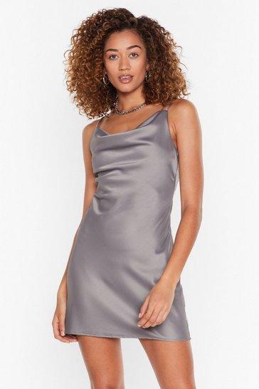 Silver Gimme a Cowl Satin Mini Dress