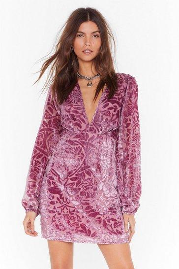 Mauve Party Thyme Floral Velvet Dress