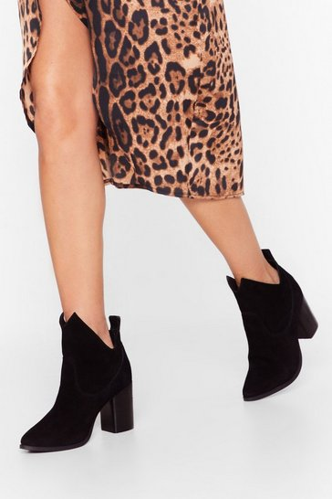 Black Over and Cut-Out Suede Ankle Boots