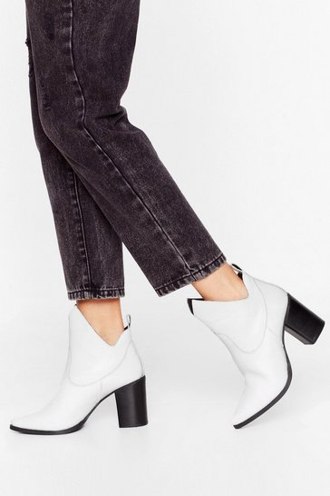 White Over and Cut-Out Leather Ankle Boots