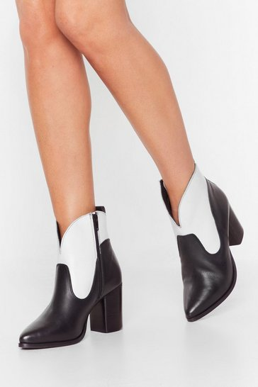 Black Curve the Haters Two-Tone Leather Boots