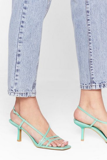 Mint Time Heels Strappy Kitten Heels