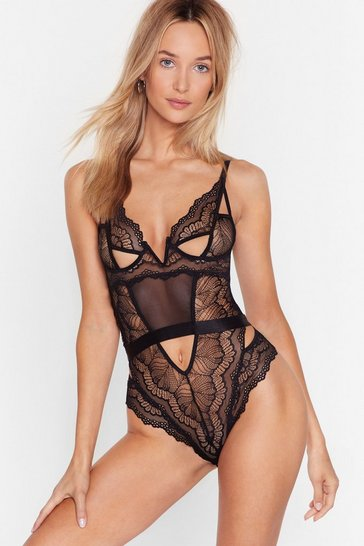 Black Lace Get Outta Here Cut-Out Bodysuit