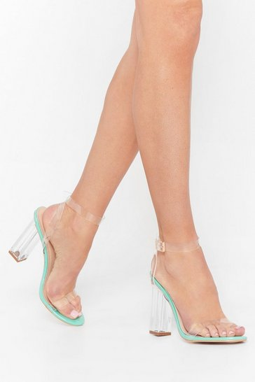 Mint Faux Leather Transparent Heels with Clear Block Heel