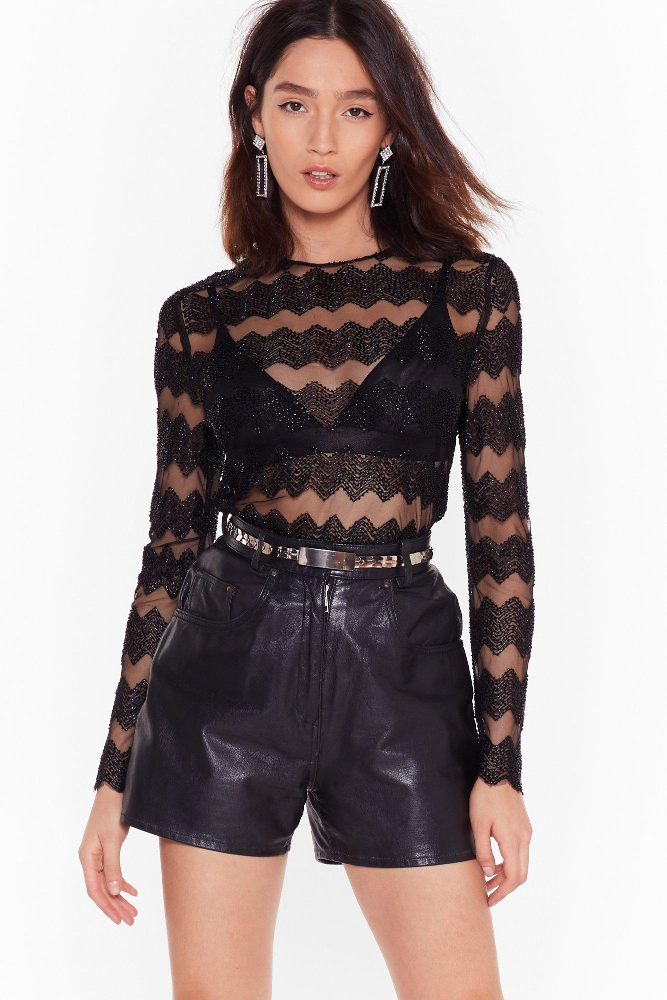 NASTYGAL – TOP CHEVRON PERLE