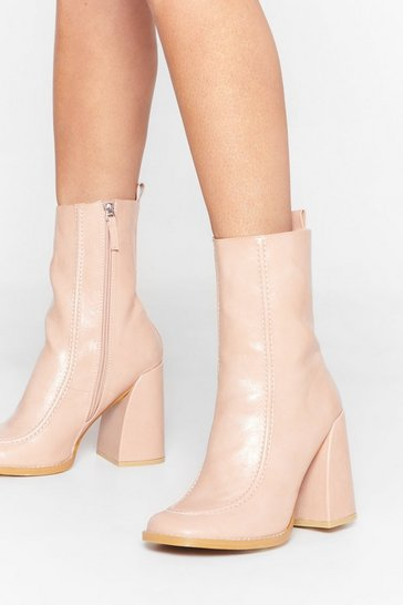 Pink Curve 'Em Faux Leather Heeled Boots