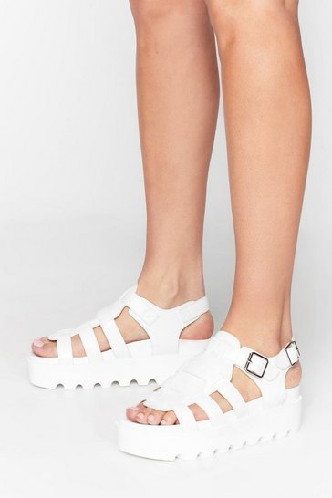 White Faux Leather Cleated Sandals with Straps