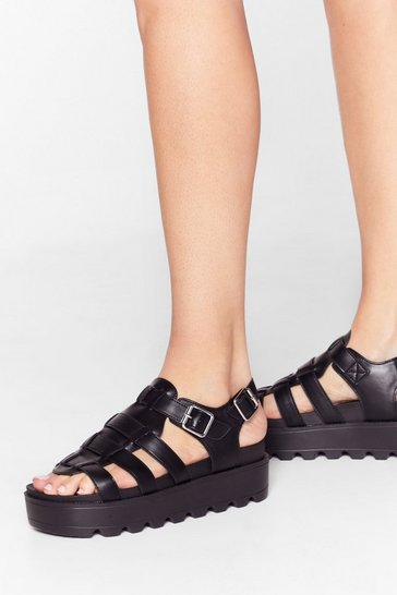 Black Strapped in Faux Leather Cleated Sandals