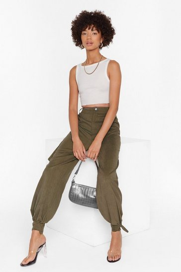 Womens Khaki Tie to Forget High-Waisted Cargo Pants