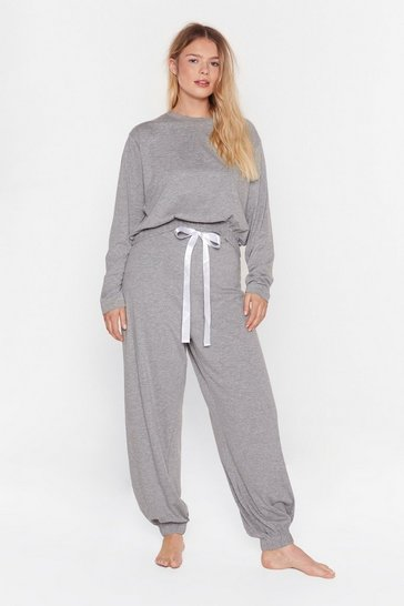 Grey Not a Care in the World Plus Jogger Lounge Set