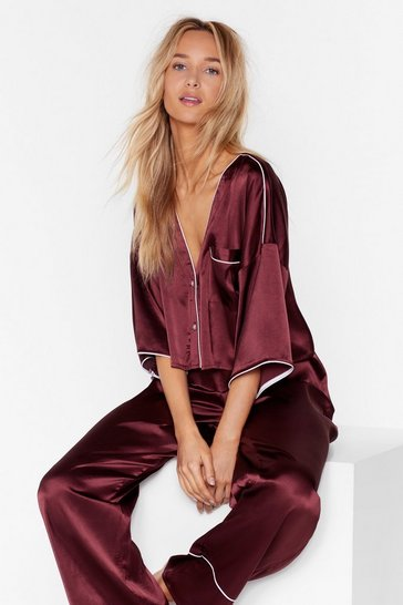 Maroon You've Made Your Bed Satin Pajama Pants Set