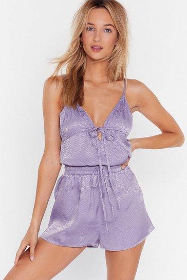 Lavender Snake Us There Satin Top and Shorts Pajama Set