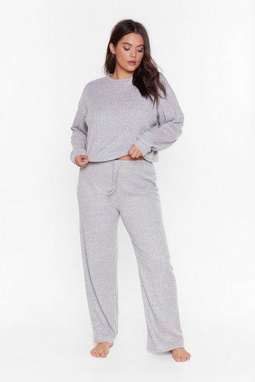 Grey Rib and Repeat Knit Plus Lounge Set