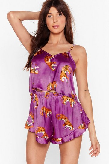 Purple Fangs for Everything Tiger Pajama Shorts Set