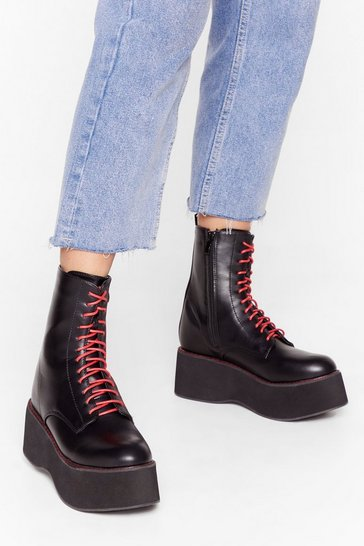 Black Step It Lace-Up Platform Boots
