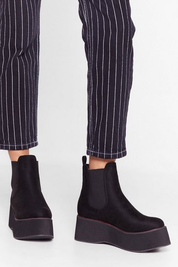 Black Stitch 'Em Up Faux Suede Platform Boots