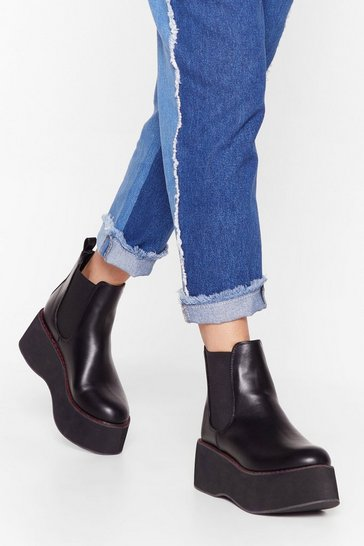 Black Faux Leather Platform Boots with Contrasting Stitch