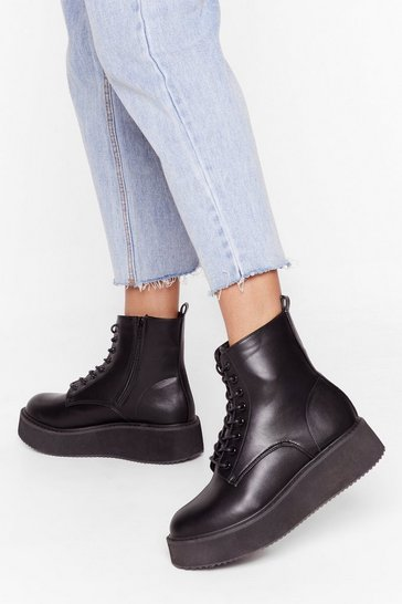 Black World At Your Feet Faux Leather Lace-Up Boots