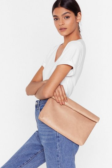 Nude WANT Hold It Faux Leather Clutch Bag