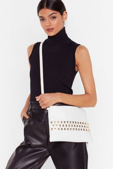 White Faux Leather Stud Crossbody Bag
