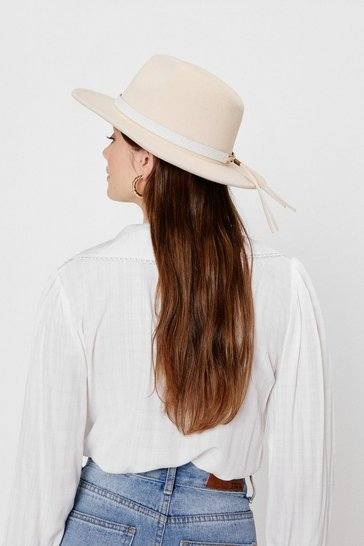Light stone Woven Pinched Fedora Hat