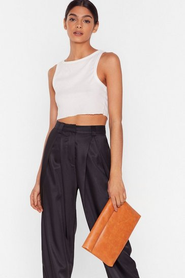 Orange WANT Hold It Faux Leather Clutch Bag