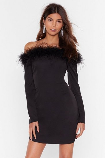 Black Don't Ruffle My Feathers Off-the-Shoulder Dress