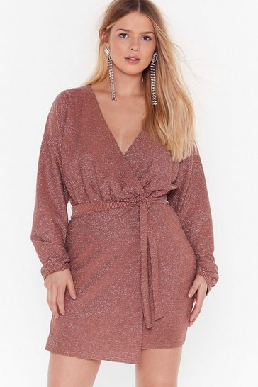 Womens Cinnamon Follow the Call Plus Glitter Wrap Dress