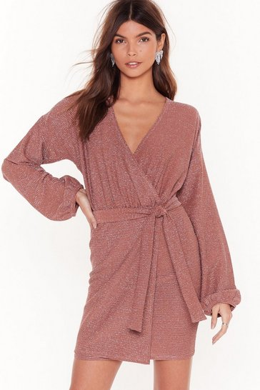 Cinnamon Follow the Call Glitter Wrap Dress