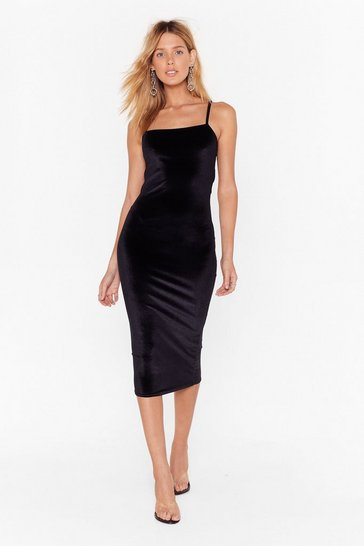 Womens Black Square You Goin' Velvet Midi Dress