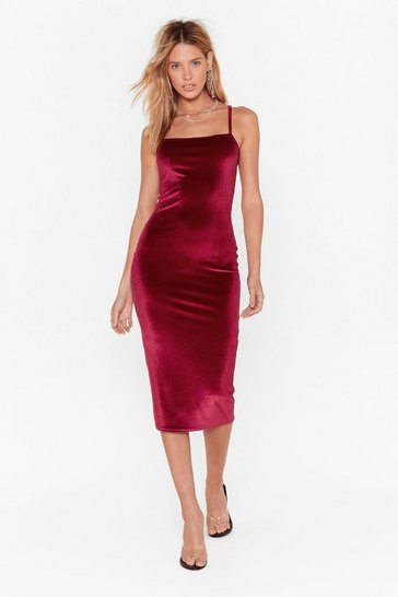 Womens Burgundy Square You Goin' Velvet Midi Dress