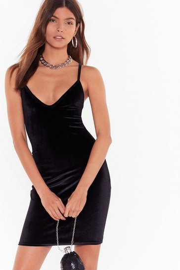 Womens Black V You There Velvet Mini Dress