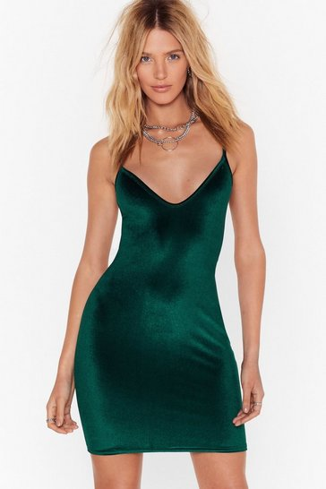 Green V You There Velvet Mini Dress