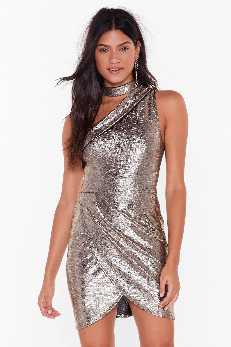 Glitterball Neck Strap Wrap Mini Dress by Nasty Gal