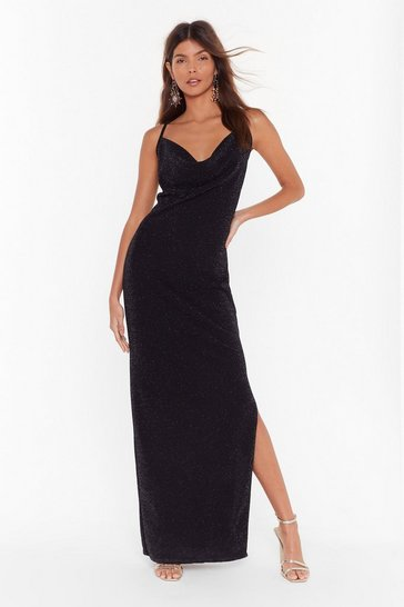 Womens Black The Party's Cowlin' Glitter Maxi Dress