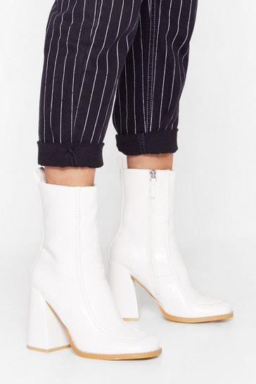 White Curve 'Em Faux Leather Heeled Boots