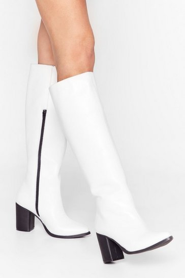 White We Knee'd These Faux Leather Knee-High Boots